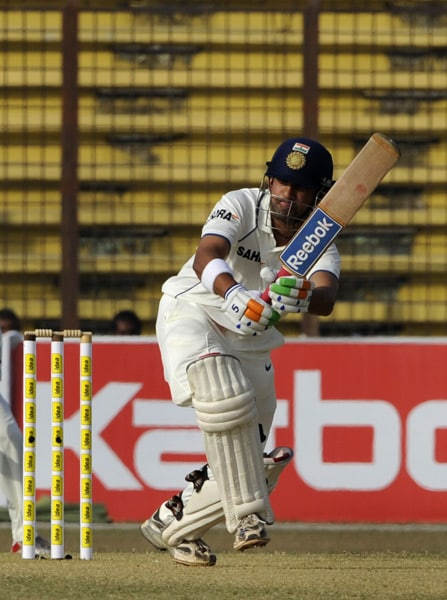 Gautam Gambhir plays a shot during the third day of the first Test match between Bangladesh and India at Zohur Ahmed Chowdhury Stadium in Chittagong. (AFP Photo)
