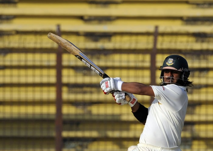 Shahriar Nafees plays a shot during the fourth day of the first Test match between Bangladesh and India at Zohur Ahmed Chowdhury Stadium in Chittagong. (AFP Photo)