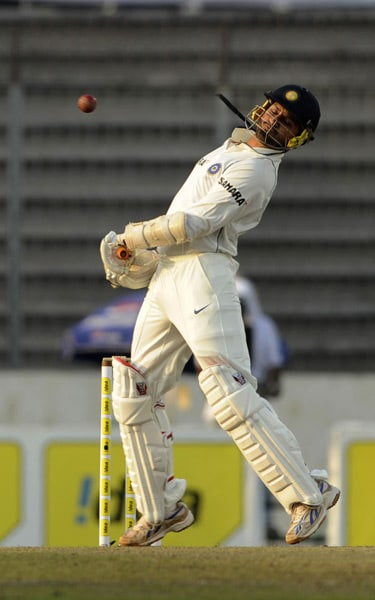 Harbhajan Singh avoids a bouncer during the second day of the second Test match against Bangladesh at The Sher-e Bangla National Stadium in Dhaka. (AFP Photo)