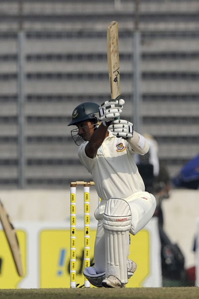 Mohammad Ashraful plays a shot during the fourth day of the second Test match in Dhaka. (AFP Photo)