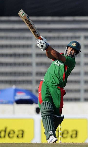 Bangladesh's Tamim Iqbal plays a shot against India during the third ODI of the tri-series at the Sher-e Bangla National Stadium in Dhaka. (AFP Photo)