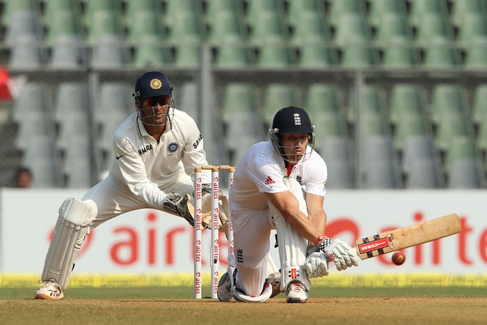 Nick Compton sweeps the ball on Day 4 at the Wankhede Stadium. (Pic Courtesy: BCCI)