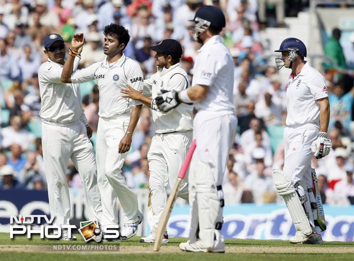 S Sreesanth celebrates dismissing England captain Andrew Strauss in their fourth Test match at The Oval Cricket Ground in London. (AP Photo)