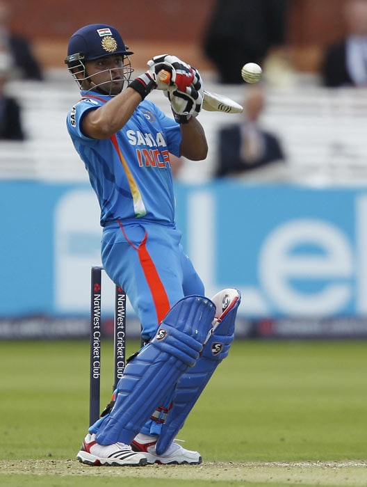Suresh Raina hits a shot during the fourth ODI between England and India at Lord's in London. (AFP Photo)