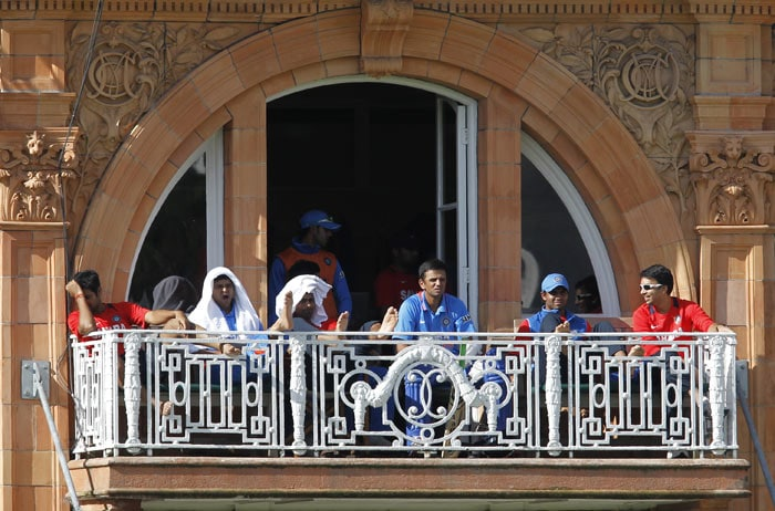 Rahul Dravid with the Indian team in the balcony during the fourth ODI between England and India at Lord's in London. (AFP Photo)