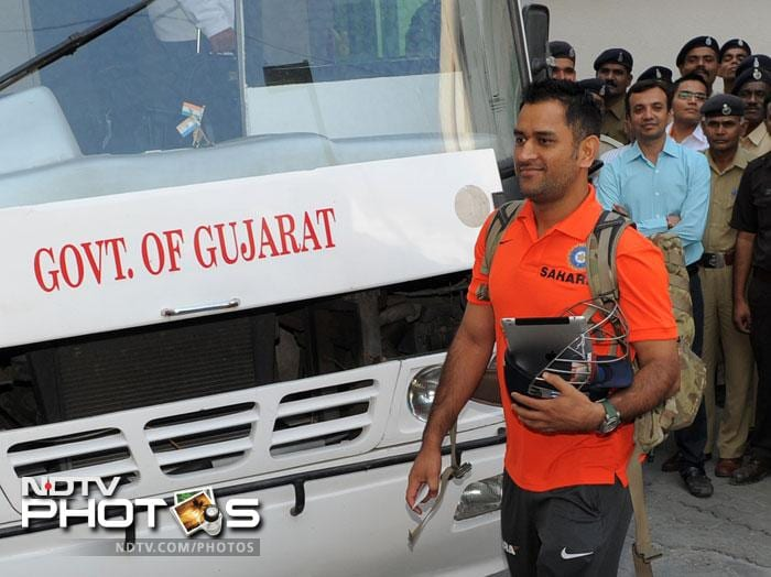 India captain MS Dhoni arrives at a hotel in Ahmedabad. The Indian team plays the first Test against England in Ahmedabad, starting November 15. (AFP Photo)