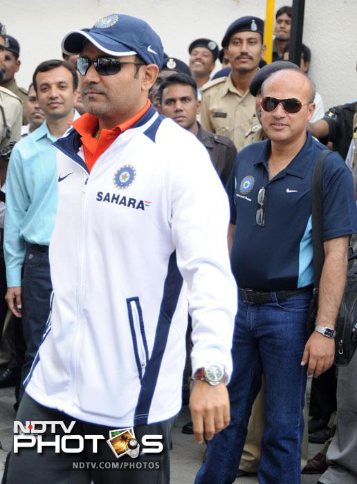 Virender Sehwag is looking to score big against Alastair Cook and Co. (AFP Photo)
