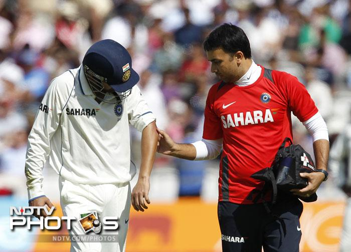 <b>Gautam Gambhir:</b> He batted in the second innings with a swollen elbow and the discomfort was evident. So one doesn't really know if he'll be fully fit for the second Test. Keep watching this space for the updates.