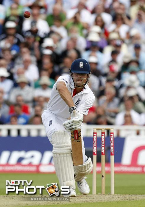 Alastair Cook plays a shot against India on the second day of the third Test match at the Edgbaston Cricket Ground, Birmingham. (AP Photo)