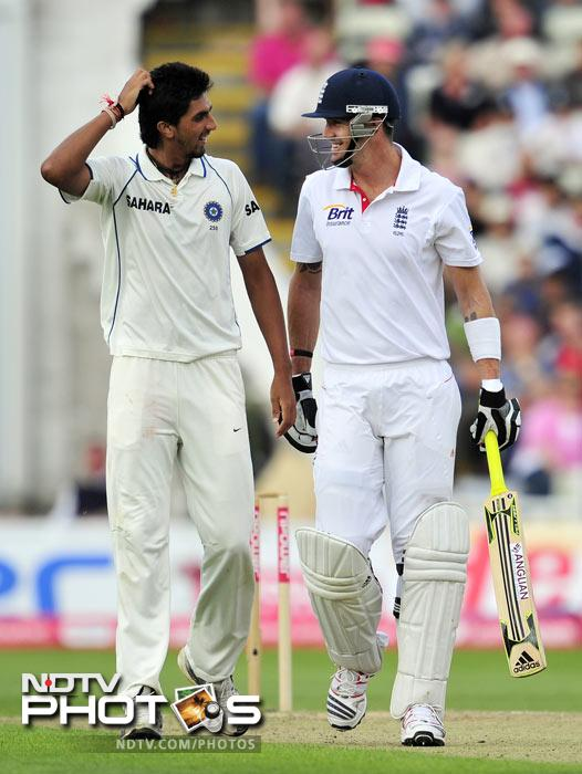 Kevin Pietersen shares a joke with Ishant Sharma during the second day of the third Test against India at the Edgbaston Cricket Ground in Birmingham. (AFP Photo)