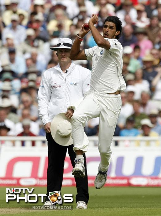 Ishant Sharma bowls against England on the second day of the third Test match at the Edgbaston Cricket Ground, Birmingham. (AP Photo)