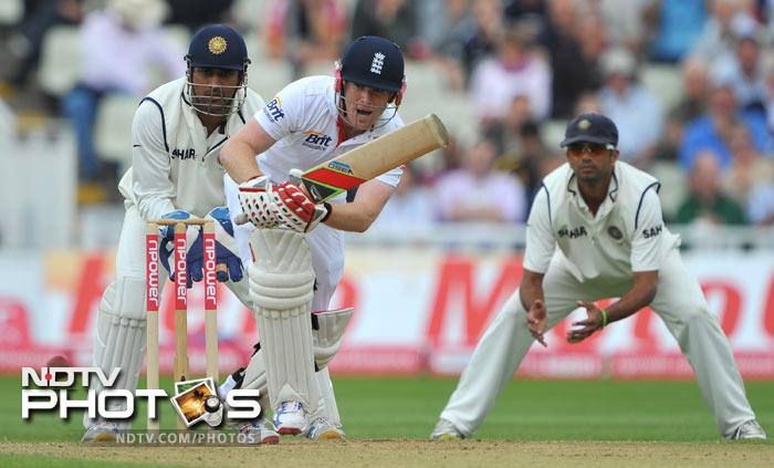 Eoin Morgan bats during the third day of the third Test match between England and India at the Edgbaston Cricket Ground in Birmingham, central England. (AFP Photo)
