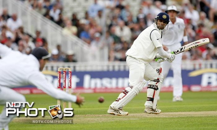 Rahul Dravid plays a shot against England on the third day of the third Test match at the Edgbaston Cricket Ground, Birmingham. (AP Photo)