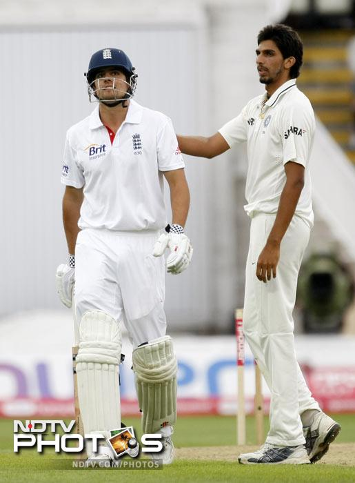 Alastair Cook is congratulated by Ishant Sharma after being dismissed for 294 runs on the third day of the third Test match at the Edgbaston Cricket Ground, Birmingham. (AP Photo)