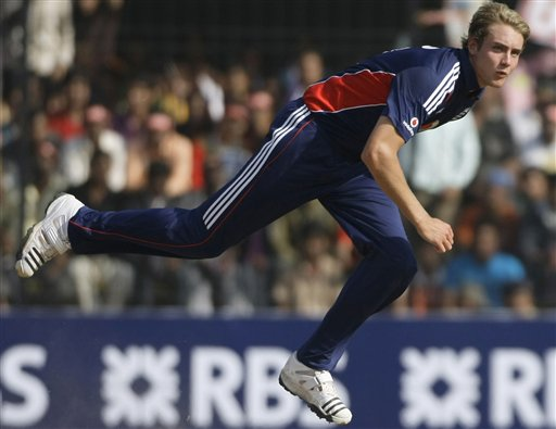 Stuart Broad bowls against India during the second one-day international match in Indore on Monday, November 17, 2008. (AP Photo)