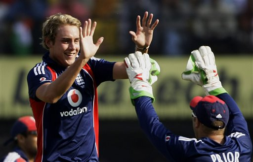 Stuart Broad, left, is congratulated by wicketkeeper Matt Prior after Broad took the wicket of Suresh Raina, unseen, during the second one-day international match between India and England in Indore on Monday, November 17, 2008. (AP Photo)