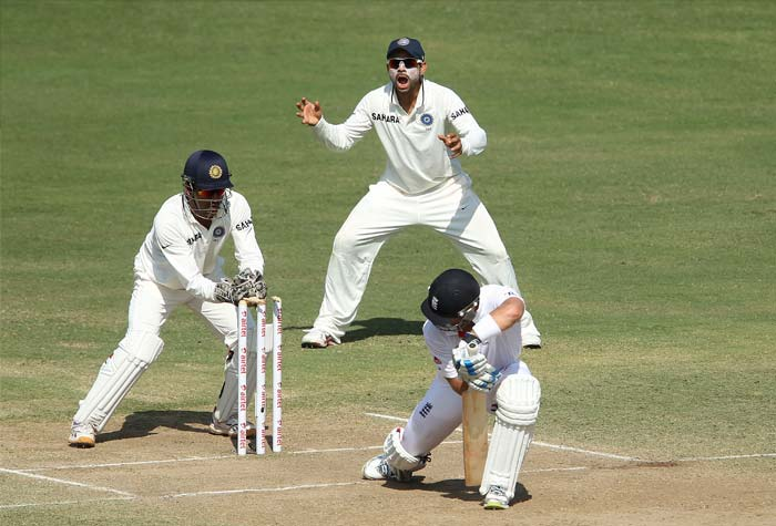 <b>Bamboozled England follow on:</b> On Day 3, England batsmen had no answers to India's spin duo of Ashwin and Ojha and they were all out for 191 runs and were asked to follow on. (Photo Courtesy: BCCI)