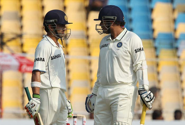 <b>Opening relief:</b> It was almost after two years Virender Sehwag and Gautam Gambhir clicked as a pair and had a century stand. They added 134 runs. Sehwag scored at a run-a-ball pace and made 117 runs. This was his 13th century in Tests in India - his first century after 30 innings. His last century was posted at Motera two years ago - 173 against New Zealand in November 2010. (Photo Courtesy: BCCI)