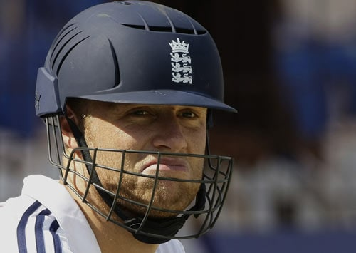 England player Andrew Flintoff reacts during a practice session in Rajkot on Thursday. (AP Photo)