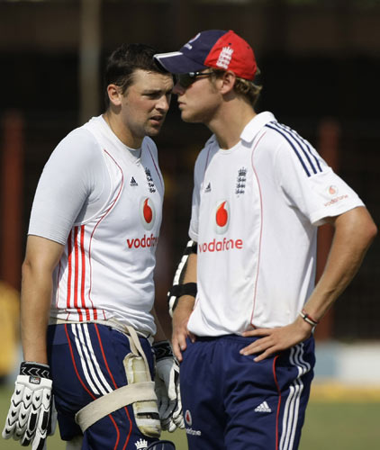 England's players Stephen Harmison and Stuart Broad look on during a practice session in Rajkot on Thursday. (AP Photo)
