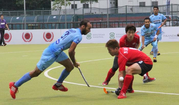Amon Mirash Tirkey scored India's fourth goal in the 57th minute and Ramandeep Singh (left in pic) scored the fifth in the 62nd minute.