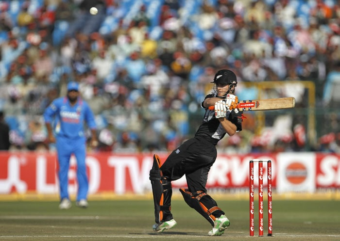 Kane Williamson hooks the ball during the second ODI against India in Jaipur. (AP Photo)