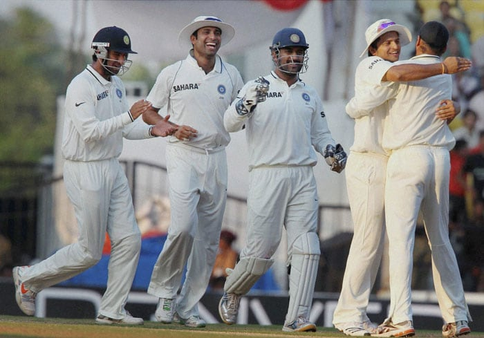 India's Harbhajan Singh celebrates the dismissal of New Zealand's Tim McIntosh during the third day of the final Test match at the VCA Stadium in Nagpur. (PTI Photo)