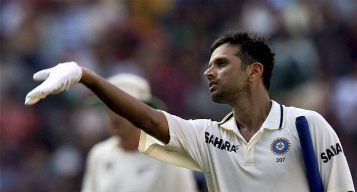 India's Rahul Dravid reacts after being dismissed before completing his double century on the third day of the final Test against New Zealand at the VCA stadium in Nagpur. (PTI Photo)