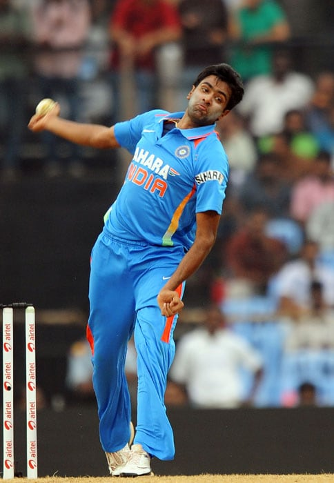 R Ashwin bowls during the final ODI between India and New Zealand in Chennai. (AFP Photo)