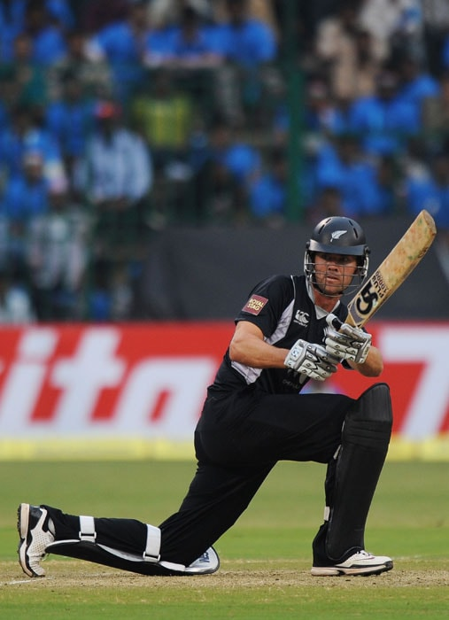James Franklin plays a shot during the fourth One-Day International between India and New Zealand in Bangalore. (AFP Photo)