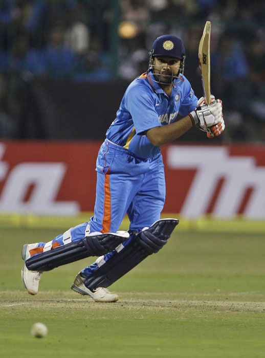 Rohit Sharma bats during their ODI between India and New Zealand in Bangalore. (AP Photo)