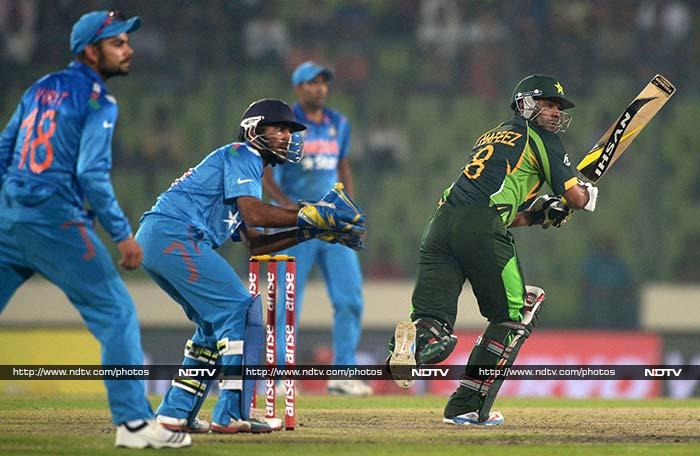 Mohammad Hafeez (75) held his nerve to keep Pakistan alive in the game.