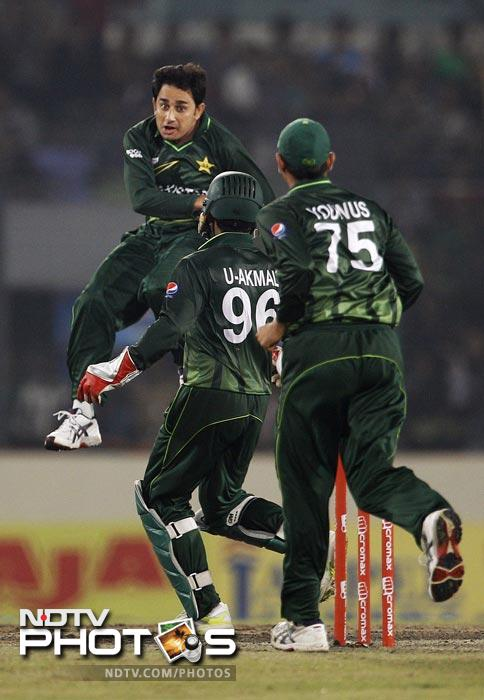 Saeed Ajmal is seen here after claiming the wicket of Sachin Tendulkar (52).(AP Photo)