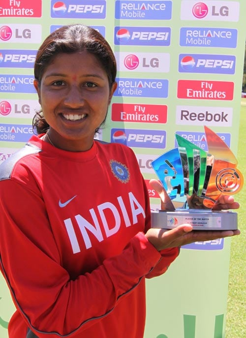 Pace bowler Rumeli Dhar poses with her Player of the Match Award after her three wickets. (ICC)
