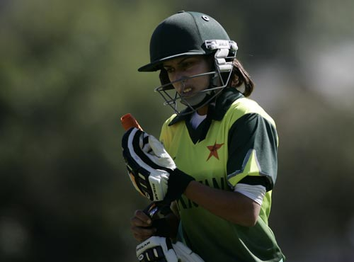 Pakistan's Nain Abidi shows her disappointment after being run out during the ICC Women's World Cup match against India. (ICC)
