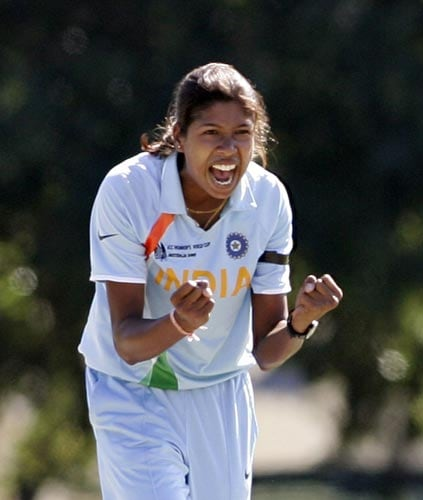 Indian skipper Jhulan Goswami celebrates during the opening match of the ICC Women's World Cup against Pakistan. (ICC)