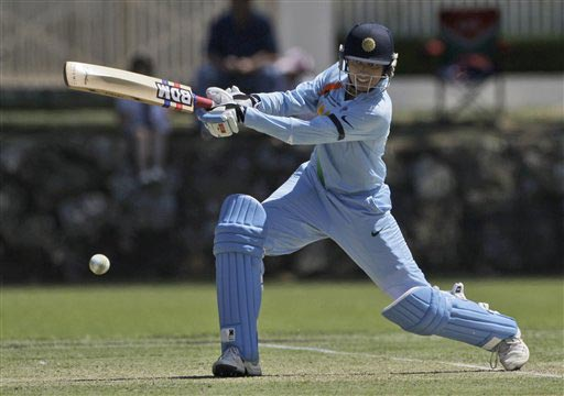 India's Anim Chopra drives a ball against Pakistan during their Women's World Cup cricket match at the Bradman Oval in Bowral on Saturday, March 7, 2009. (AP Photo)