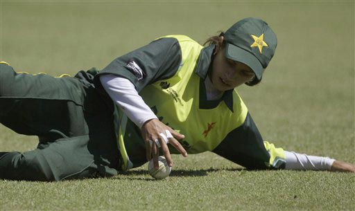 Pakistan Nain Abidi slides to field a ball against India during their Women's World Cup cricket match at the Bradman Oval in Bowral on Saturday, March 7, 2009. (AP Photo)