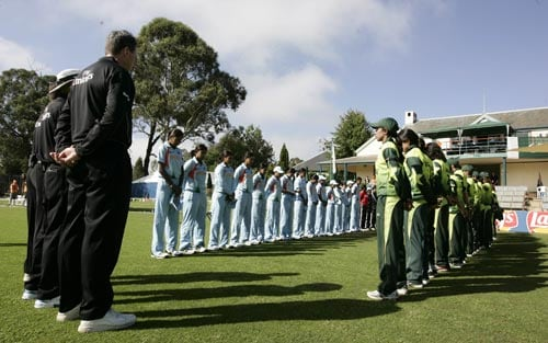 The teams and match officials observe a minute's silences for the victims of the Lahore attack earlier this week. (ICC)