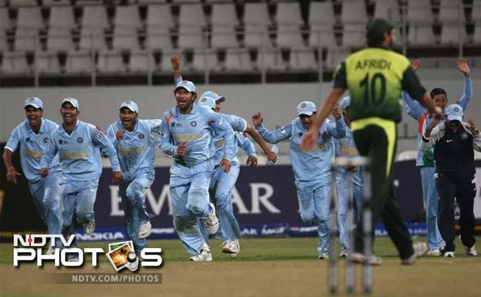 <b>ICC T20 World Cup in 2007, Group D match:</b> Can you ever forget that? This particular event highlighted just how different and more exciting Twenty20 cricket was from ODIs and Test cricket. In the 10th Group D match between the archrivals, India scored 141 in 20 overs. Pakistan leveled the score and it came down to the Bowl Out. Each team had five chances to aim at the stumps. While India's Sehwag, Bhajji and Uthappa got it right, Pakistan's Afridi, Gul and Arafat missed the stumps, losing 0-3 through a bowl-out.