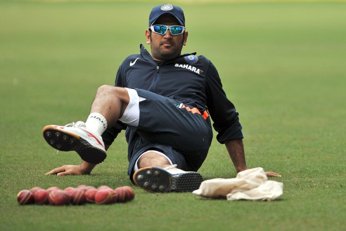 Mahendra Singh Dhoni warms up during a practice session in Nagpur. (AFP Photo)