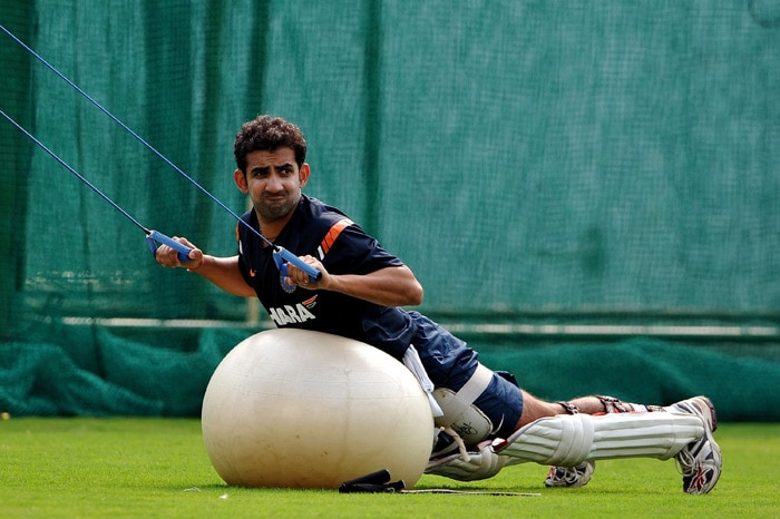 Gautam Gambhir does strength training during a practice session in Nagpur. (AFP Photo)