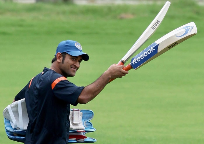 M S Dhoni during a practice session at MAC Stadium in Chennai. (PTI Photo)