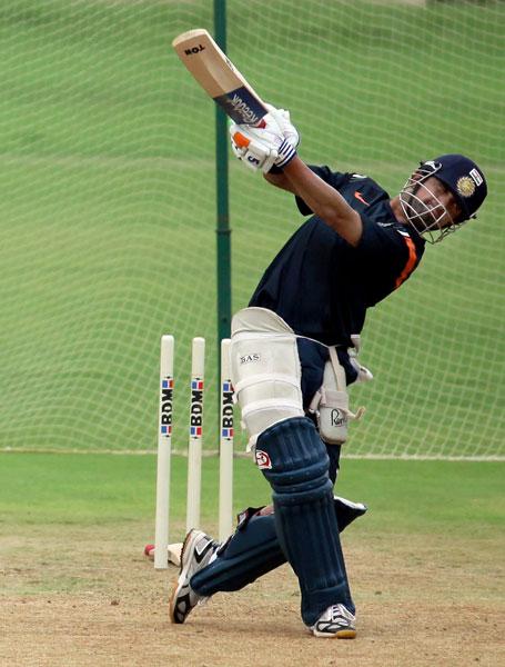 Gautam Gambhir plays a shot during a practice session at MAC Stadium in Chennai. (PTI Photo)