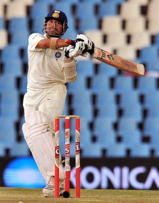India's Sachin Tendulkar plays a shot on the fourth day of the first Test at SuperSport Park in Centurion. (AFP Photo)