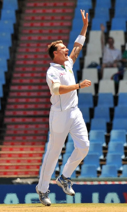South African bowler Dale Steyn celebrates dismissing Indian Jaidev Unadkat on the fifth day of the first Test at SuperSport Park in Centurion. (AFP Photo)