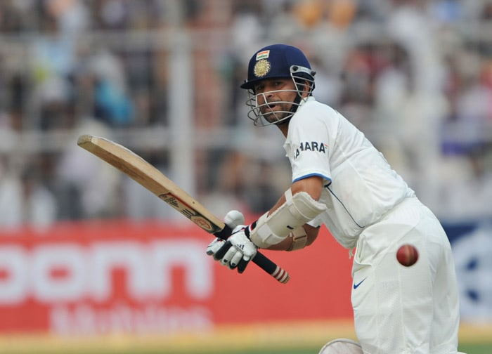 Sachin Tendulkar plays a shot during the second day of the second Test between India and South Africa at the Eden Gardens Stadium in Kolkata. (AFP Photo)