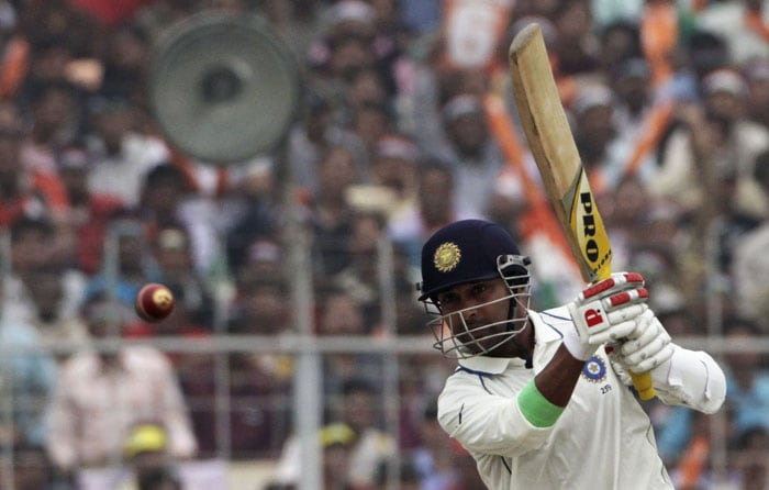Amit Mishra bats during the third day of the second Test match against South Africa in Kolkata on Tuesday. (AP Photo)