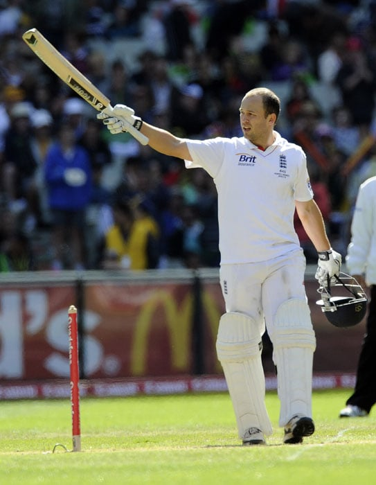 England's Jonathan Trott celebrates scoring a century during the second day of the fourth Ashes cricket test match against Australia at the Melbourne Cricket Ground. (AP Photo)
