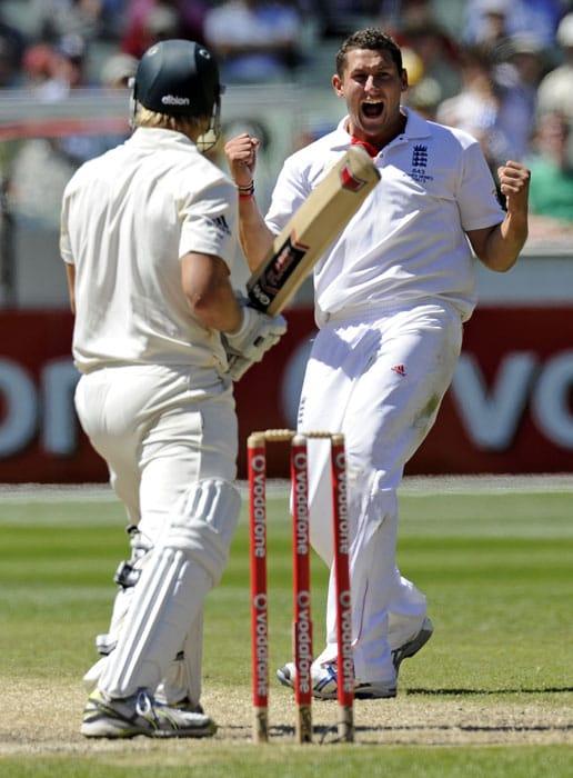 England's Tim Bresnan celebrates capturing the wicket of Australia's Shane Watson for an LBW during the third day of the fourth Ashes cricket test at the MCG in Melbourne. (AP Photo)